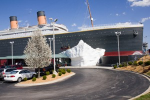 "Branson's Titanic Museum Attraction  towers above the famed ""Branson Strip."""