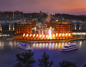 Main Street Cruise's Landing Princess and Lake Queen viewing Branson Landing's spectacular Water and Fire Show.