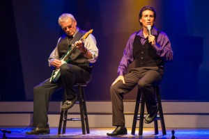 "George Dyer and lead guitarist Bogie Bhoinc seen here performing a duet during the ""George Dyer"" show, are two the celebrity judges."