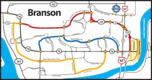 Branson's color coded route map