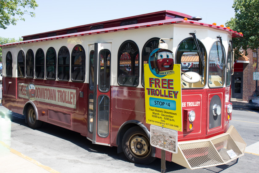 The free downtown trolley is a great way for families to get an overview of Historic downtown Branson, Branson Landing, and Lake Taneycomo.