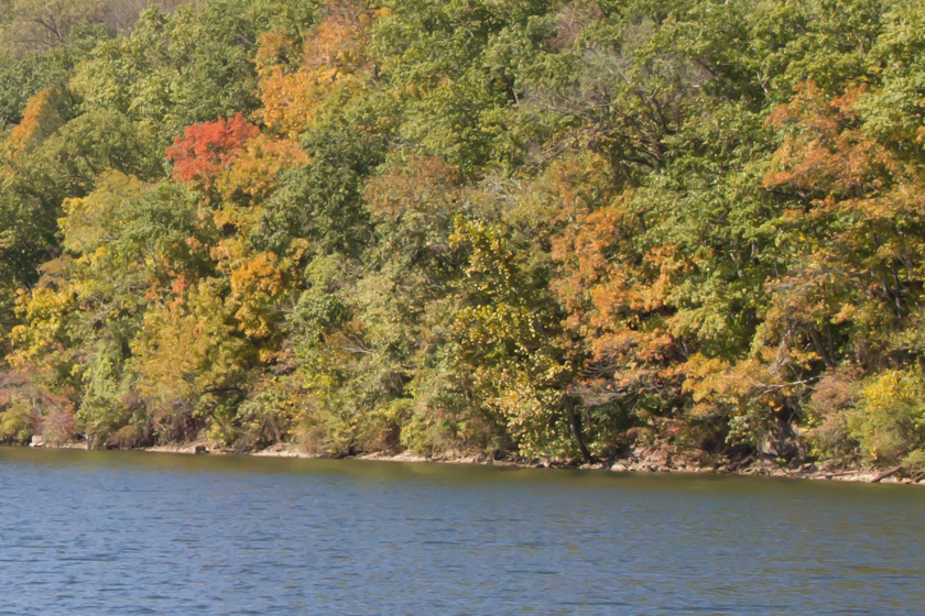 """View of the first """"blush"""" of Fall foliage from the bow of the """"Landing Princess."""""""