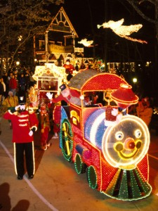 The Light Parade winds its way through Silver Dollar City's Town Square.