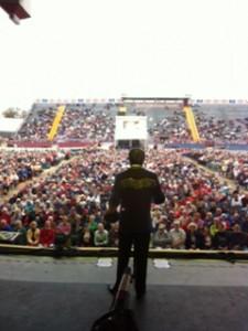 Interesting shot of Shoji Tabuchi performing at Florida Strawberry Festival.