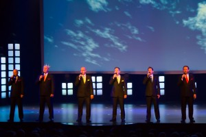 SIX, Owen, left , Kevin, Jak, Lynn, Curtis, and Barry during the gospel segment of the show.