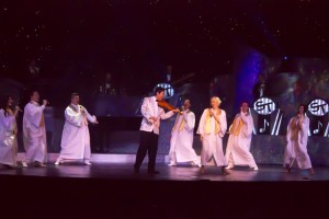 The singer/dancers with Shoji and Christina during a stirring gospel number.