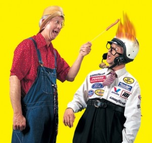 """Gary Presley, """"Herkimer"""" with son Erik, """"Cecil"""" in one of their hilarious skits."""