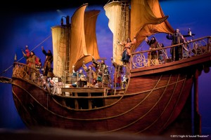 "30,000 pound ship ""sails"" the stage and breaks up during the storm."