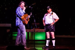 Billy laughing during a comedy skit with Jarrett Dougherty as Security Officer Billy Club.