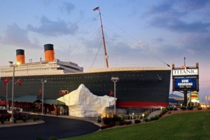 The Titanic Museum Attraction towers over the Branson Strip