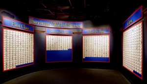 """The """"Survivors' Wall of Stories"""" in the """"Discovery Room"""" of Branson's Titanic  Museum Attraction."""