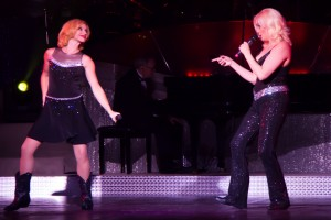 """Christina Tabuchi, right and Alicia Winking during their performance of """"Somethin' Bad."""""""