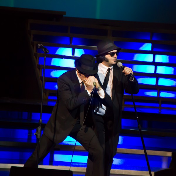 """The """"Blues Brothers,"""" """"Elwood,left,"""" performed by Danny Zeligman and """"Jake"""" performed by Chance Havens."""