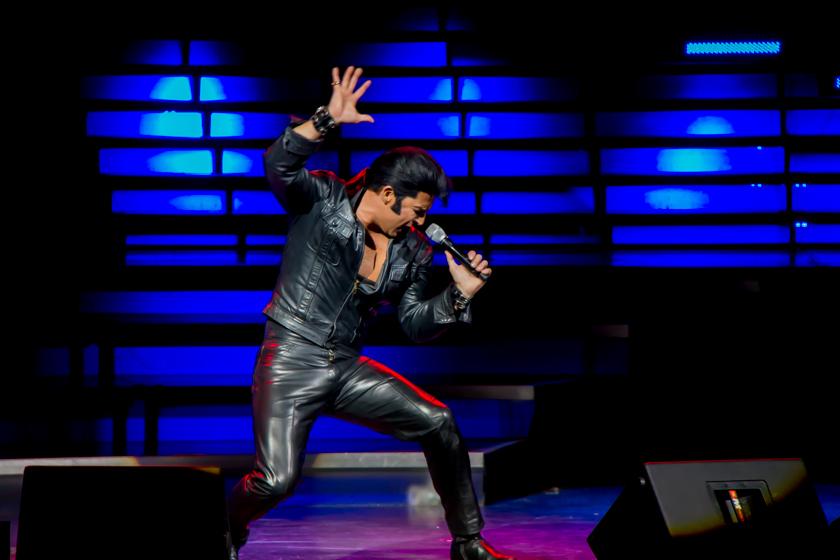 """Jay Dupuis duirng  """"Elvis"""" set."""