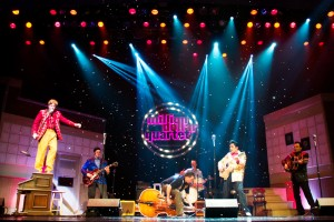 "The Million Dollar Quartet,  David Brooks as Jerry Lee Lewis, left, on the piano; Brad Waters as ""Carl Perkins;"" Austin Wilson as ""Jay Perkins,"" the bass player; Tyler K. Hunter as ""Elvis Presley;"" and Cliff Wright as ""Johnny Cash"""