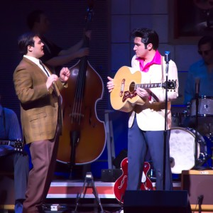 Derek Garza as Sam Phillips  having a heart to heart with Elvis Presley.