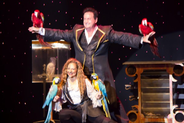 Dave and Denise Hamer at the conclusion of their magnificent flying birds illusion.