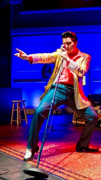 "Tyler Hunter as Elvis Presley in ""Million Dollar Quartet."""