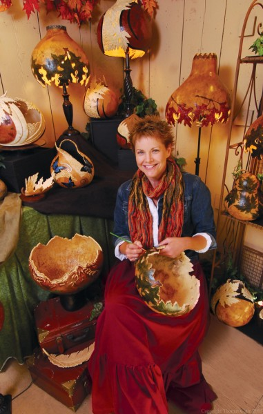 Gourd painting is just one of the many crafts featured at Silver Dollar City's National Harvest & Cowboy Festival .
