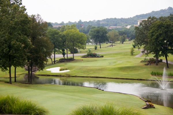 """The #12 par 3 hole, appropriately named The Fountain, at Pointe Royale Golf Course."""