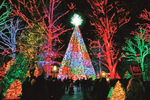 "Silver Dollar City's Main Street aglow in Christmas lights celebrating of its ""Old Time Christmas."""