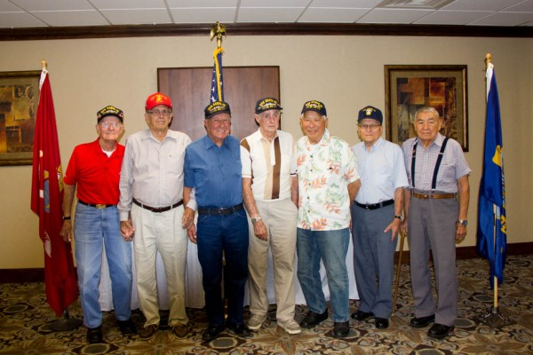 Crew members of the U.S.S Sante Fe attending its 70th Annual Reunion, ictured from left to right, with ages in parens, are Richard Champagne, 91; Clifford Hamilton, 89, Ivan Cannon, 89, Robert Hazelwood, 92, Stephen Wong, 92; Charles Bright, 89; and Steve Downing Jr., 90.