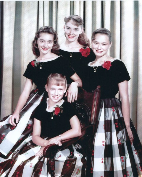The Lennon Sisters circa early years, Kathy, left, Dee Dee, back, Peggy, and Janet .
