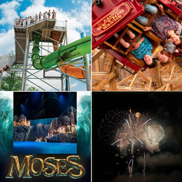 """KaPau Plummet"" at White Water, Silver Dollar City's ""Outlaw Run,"" Sight and Sound's ""Moses"" and Fireworks are just part of the fun and excitement in Branson over Memorial Day Weekend!"