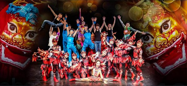 Fun shot of the cast of The Acrobats of China Featuring The New Shanghai Circus