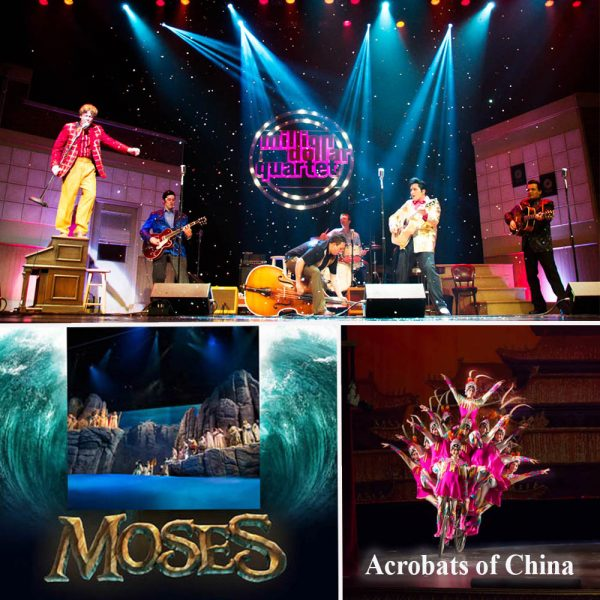The Million Dollar Quartet, Moses, and Acrobats of China illustrate the diversity of Branson's shows.Branson's many non-country music shows