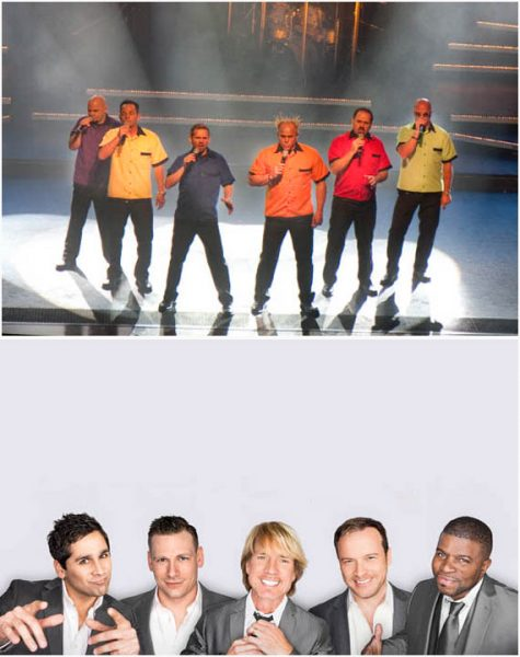 Two of the finest a cappella groups anywhere, SIX, top, and Rockapella.