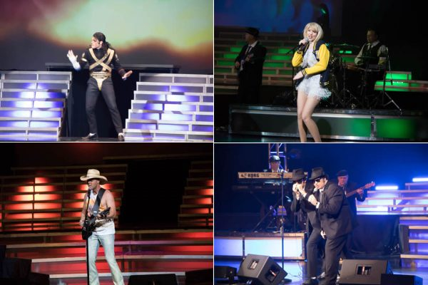 Legends in Concert stars Michael Jackson, Top Left, Taylor Swift, Kenny Chesney, and Blues Brothers.