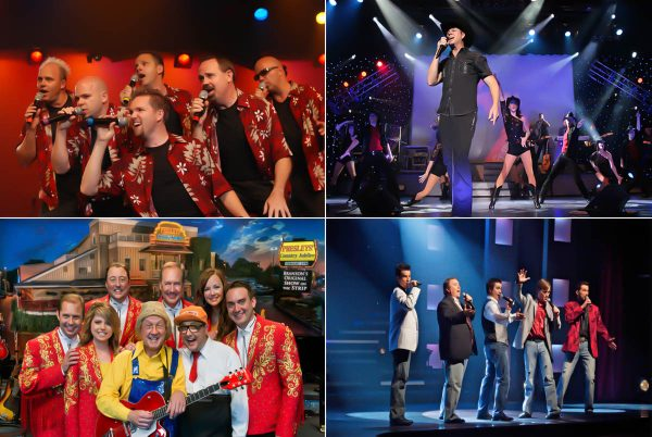 Four of the many Branson shows that will be open over the Thanksgiving Day Weekend, SIX, top left, Clay Cooper's Country Music Express, Presleys' Country Jubilee, and It Starring the Hughes Brothers.