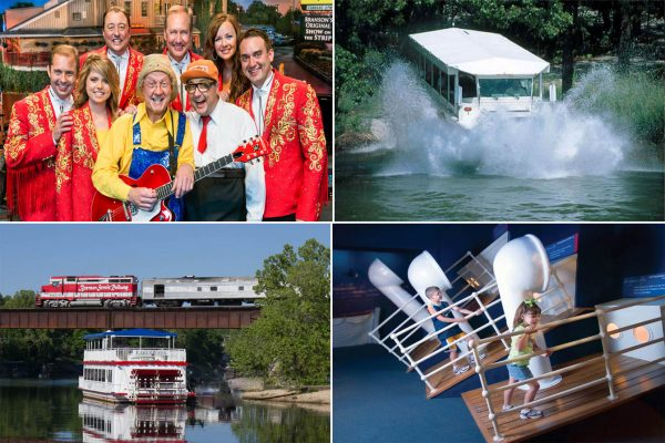 Just a few of the many exciting  ways to have family  friendly fun in Branson, Presleys' Country Jubilee, Ride the Ducks, Branson Scenic Railway, Lake Queen, and interactive fun aboard the Titanic Museum Attraction.