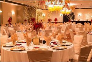 The Ball Room set up, in one of its many possible configurations, for a dinner event.