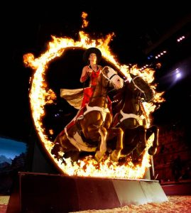 "The ""Roman Ride"" through a ring of fire."
