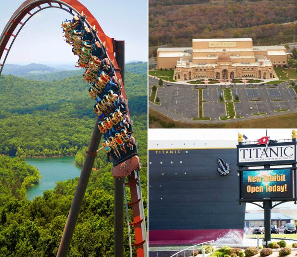 Three of Branson's epic attractions, Silver Dollar City's iconic Wildfire Coaster with an incredible view of Table Rock Lake, the Sight & SoundTheatre, and the Titanic.