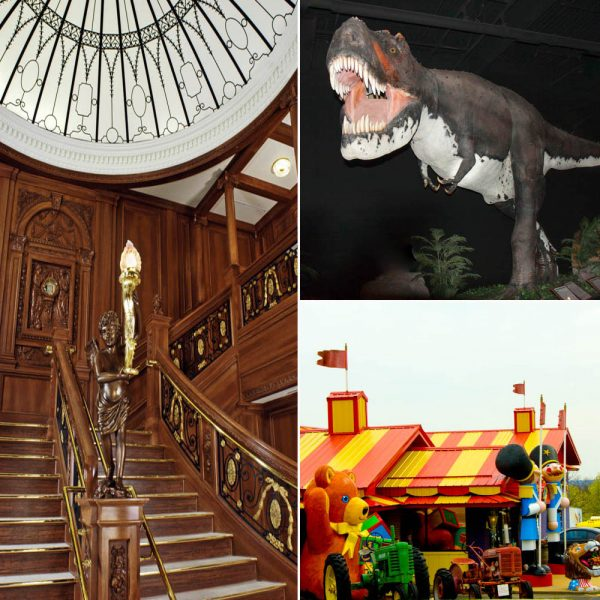 Titanic Museum's full sized Grand Staircase, two story high T-Rex from Dinosaur Museum, and the entrance to the Worlds Biggest Toy Museum Complex.