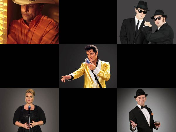 Legends in Concert's George Strait, upper left, Blues Brothers, Elvis, Adele, and Frank Sinatra