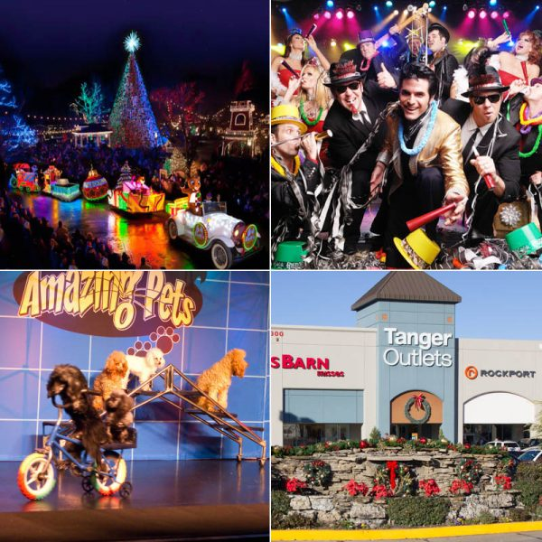 Silver Dollar City's Old Time Christmas, New Year's Eve with Legends in Concert, the Amazing Pets Show ,and Tanger Outlet.