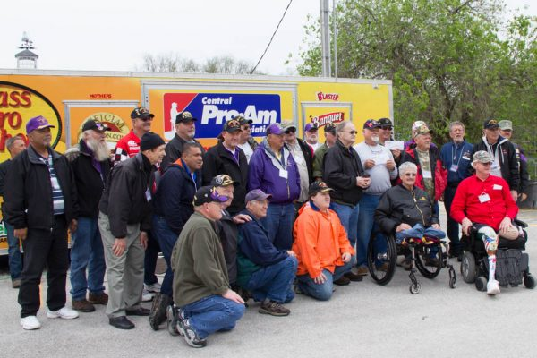 Purple Heart Recipients at weigh in for Trout Tournament astScotty's Tout Dock